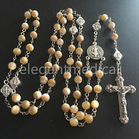 handmade Mother Of Pearl Beads Catholic gifts Rosary Necklace box Crucifix Cross