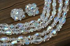 Vintage LAGUNA Necklace Earring Bracelet Set Aurora Borealis Glass Crystal Bead