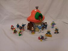 Vintage 1976 SCHLEICH PEYO SMURF Mushroom House TOY + Christmas Smurfs +