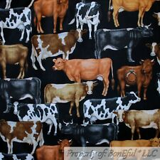 BonEful Fabric Fq Cotton Quilt Black B&W Cow Skin Farm Animal Print Brown White