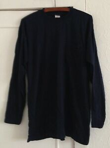 Ladies Top Shop Vintage 1990s Long Sleeve Navy Outsized Long Sleeve Top Size 12