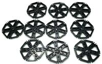 Lego 10 New Black Technic Plates Rotor 6 Blade Clip Ends Connected Water Wheel