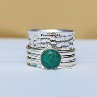 Turquoise 925 Sterling Silver Spinner Ring Meditation Statement Jewelry A129