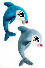 2x Delphin aus Plüsch zum Hängen in blau & grau, 21cm, Kuscheltier, Schmusetier