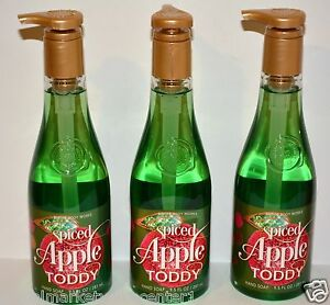 3 Bath & Body Works Decorative Spiced Apple Toddy Hand Soap 9.5oz full size NEW
