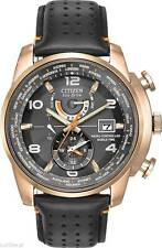 NEW CITIZEN AT9013-03H WORLD TIME A-T ROSE GOLD CASE BLACK LEATHER MEN'S WATCH