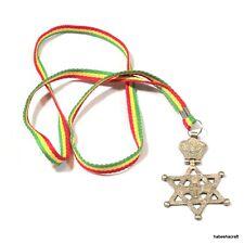 Etiopía Cruz De Latón Chapado en Plata dentro de Estrella de David colgante