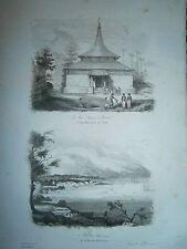 gravure 1839  Océanie Dumont d'Urville Mosquée à Caïcli et rade d'Amboine