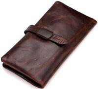 Vintage Genuine Leather Long Bifold Wallet Money Card Holder Clutch Purse Women