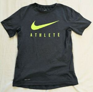NIKE Boy's Dark Grey Dri-Fit Athlete T-Shirt Size L Large Good Used Condition