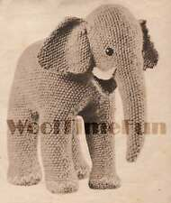 Vintage Knitting Pattern Cute Little Toy Elephant. 1940s make from oddments