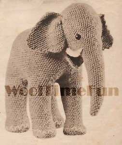Knitting Pattern Cute Little Toy Elephant. Vintage 1940s Make From Oddments