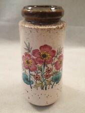 Vintage MCM West German Vase with Floral Decoration Scheurich 209-18 1960s 1970s
