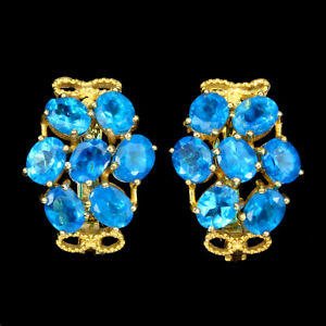 Oval Blue Apatite 5x4mm 14K Yellow Gold Plate 925 Sterling Silver Earrings
