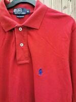 Ralph Lauren Polo Men's Top polo neck long Sleeve Red Cotton Size M