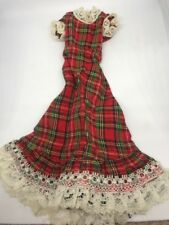 Vintage Sindy Doll Tartan Touch Dress 1979 Lace Edge