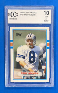 1989 Topps Traded #70T Troy Aikman Rookie Card BCCG 10 Mint