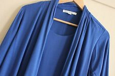 Victoria Hill Blue Cobalt Jersey Knit Viscose 2 in 1 Cardigan Top Size 12 Winter