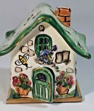 Blue Sky Tea Light Candle Cottage House Bumble Bees Flower Clayworks Green 5 x 5