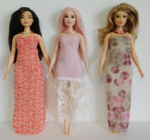 Fits CURVY BARBIE Clothes 6 Pc Lot of Dresses & Jewelry Fashions NO DOLLS d4e #3