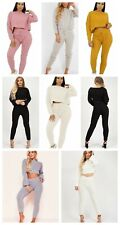 Ladies Cable Ribbed Knitted Baggy Casual 2 Pcs Loungewear Sets Women Tracksuits