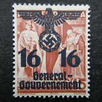 Germany Nazi 1940 Stamp MNH Swastika Eagle Overprint Poland under German Occupat