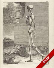 WALKING ANIMATED SKELETON CREEPY ENGRAVING PAINTING ART REAL CANVAS GICLEEPRINT