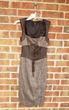 Bebe Corset Dress Brown Tweed Leather Lace up Wiggle Sexy 0 xs club