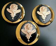 3 Unique Czech Glass/Brass Buttons #G575 -A. MUCHA (1860-1939) Art Nouveau MOTIF