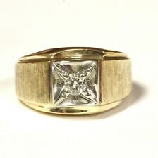 14k yellow gold .22ct VS1 I diamond solitaire mens band ring 10.8g gents