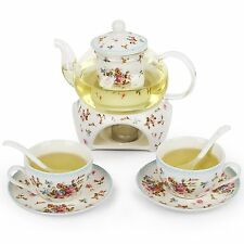 24 oz tea maker teapot with a Porcelain warmer and Cup and Saucer ,spoon Mghy S2