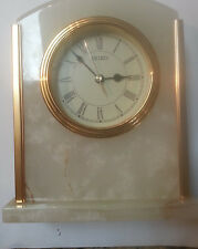 Seiko-QHG401MLH Vintage Mantel-Shelf Clock Solid-Marble-&-Bras New with Defects
