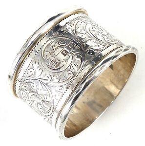EDWARDIAN SILVER NAPKIN RING 1909 HALLMARKED STERLING BY WILLIAM AITKEN