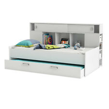 Bett Sherwood Kinderbett Jugendzimmerbett perl weiß mit Bettkasten und Regal