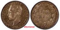 Portugal Luiz I Silver 1886 100 Reis Choice XF Nice Toned Mintage-750,00 KM# 510