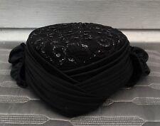 WHITTALL & SHON Vintage Black Lace Sequin Hat