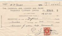 The Liverpool and London & Globe Insurance Co Ltd 1937 Stamp Receipt Ref 39041
