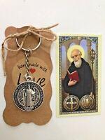 St Benedict KeyChain/St Benedict for Protection/ Patron Saint/ Llavero exorcismo
