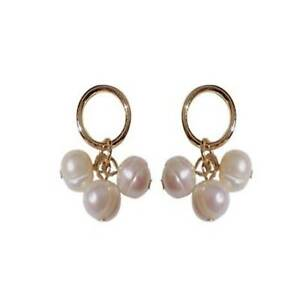1 Pair White Baroque Pearl Earring 18k Circle Ear Stud Earbob Jewelry Cultured