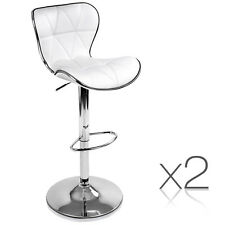 Set of 2 Bar Stools Kitchen Barstool PU Leather Chrome Chair Gas Lift White