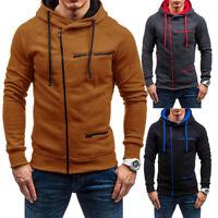 Men's Warm Zip Up Hoodies Slim Fit Hooded Sweatshirt Outwear Sweater Coat Jacket