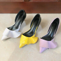Women Fashion Patent Leather Ruffled High Heel Pumps Pointed Toe Stiletto Shoes