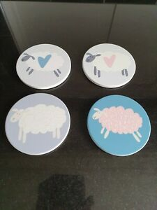4 Ceramic Cork Backed Coasters with Sheep Pictures