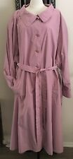 Women's Plus Size 36 (5X) Mauve Button Up Trench Coat Zip Out Lining NWT Avenue