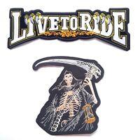 2PCs Live To Ride + Grim Reaper Harley Davidson Biker Iron On Vest Jacket Patch