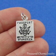 .925 Sterling Silver USA PASSPORT CHARM United States Travel PENDANT *NEW*