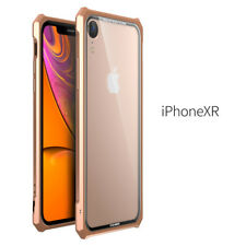 For iPhone XS Max/XR/7/8 Tempered Glass Clear Back Aluminum Metal Bumper Cover