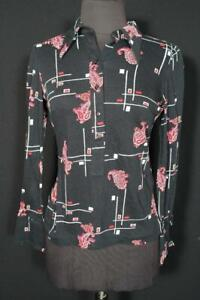 VINTAGE FRENCH 1970'S BLACK SILKY POLY PRINT BLOUSE SIZE SMALL
