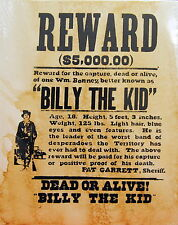 Billy the Kid - Outlaw - Historic Western Wanted Reward Poster Reproduction