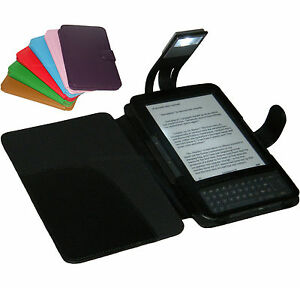 BLACK COVER CASE WITH READING LIGHT FOR AMAZON KINDLE KEYBOARD 3 AND 3G